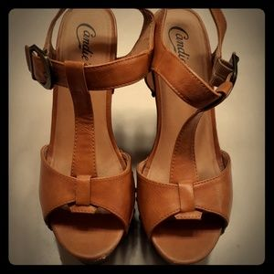 Candies leather wedges